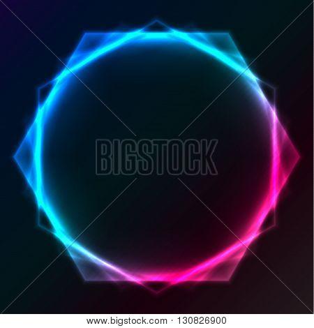 Abstract plasma lighting hexagon on black background