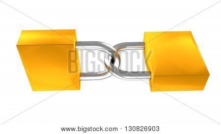 Isolated two locks padlocks 3d render illustration