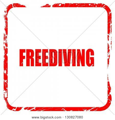 freediving sign background, red rubber stamp with grunge edges