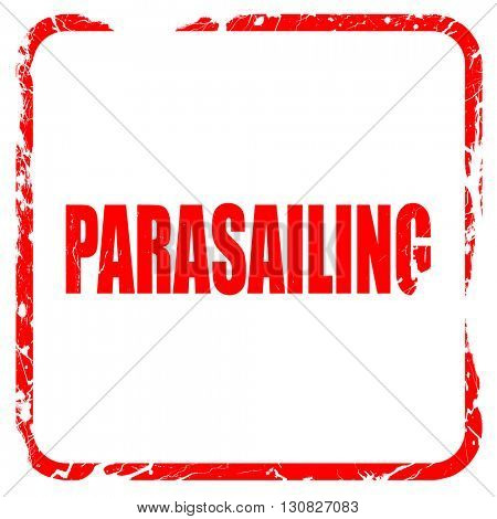 parasailing sign background, red rubber stamp with grunge edges