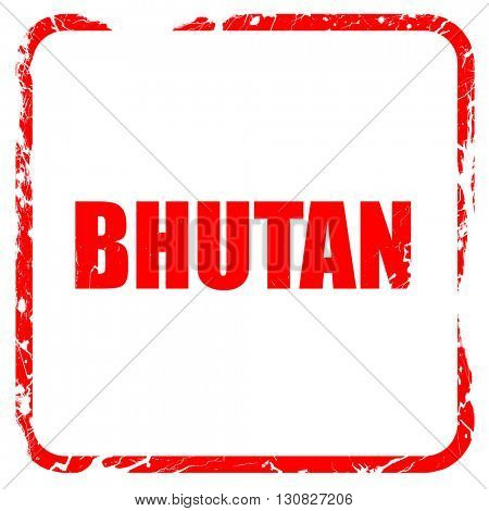 Greetings from bhutan, red rubber stamp with grunge edges