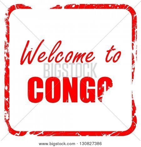 Welcome to congo, red rubber stamp with grunge edges