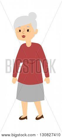 Granny portrait vector illustration.