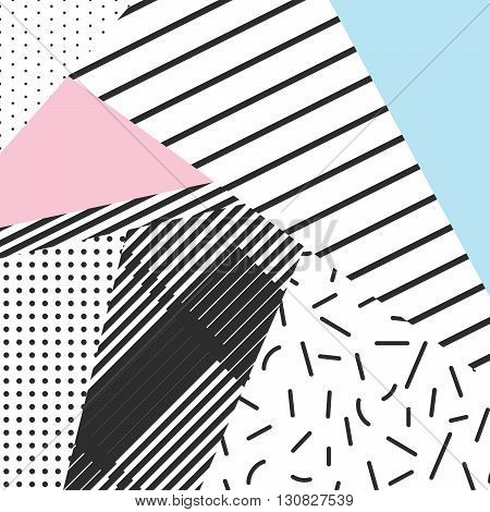 Memphis color blocks and stripe elements backdrop design. Black and white 80s 90s retro style.