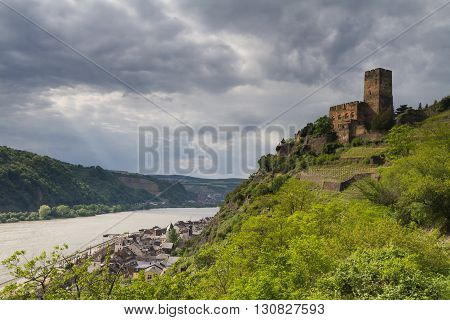 Castle Gutenfels at the Middle Rhine Valley Kaub Hessen Germany