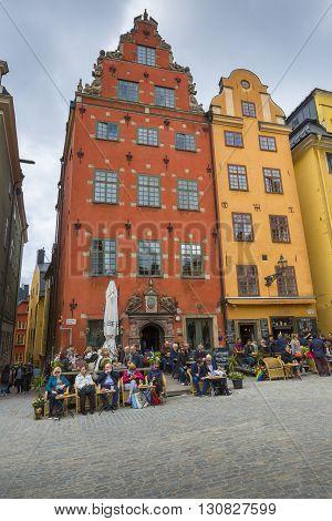 Stockholm, Sweden - May 21, 2016: Stortorget Place In Gamla Stan, Stockholm