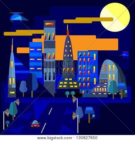vector illustration of a part of night town and a road flat design