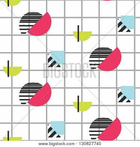 Memphis retro 80s seamless pattern. Checkered lines, abstract shapes, color blocks and dash dots elements in eighties fashion style. Half colored shapes on checkered background.