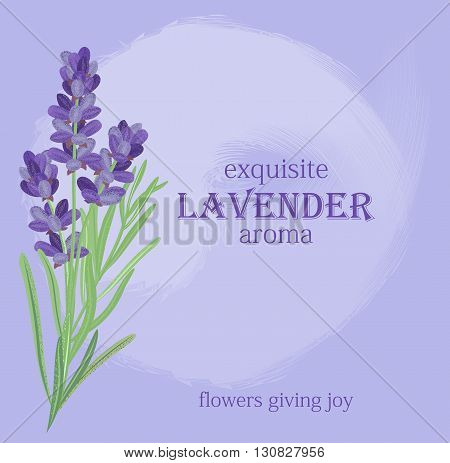 The background for the text label of the packaging the card with lavender flowers.