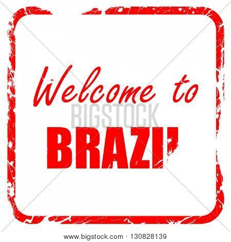 Welcome to brazil, red rubber stamp with grunge edges
