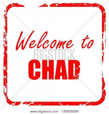Welcome to chad, red rubber stamp with grunge edges