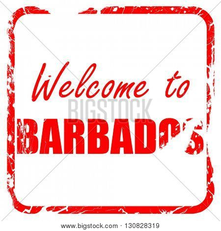 Welcome to barbados, red rubber stamp with grunge edges