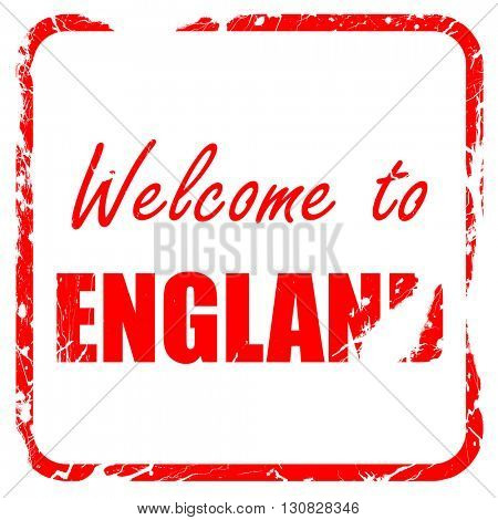 Welcome to england, red rubber stamp with grunge edges
