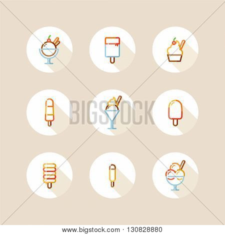 outline ice cream and sundae colorful icon set with long shadow