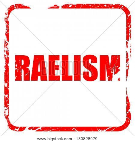 raelism, red rubber stamp with grunge edges