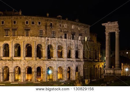 Theatre of Marcellus at night Rome Italy