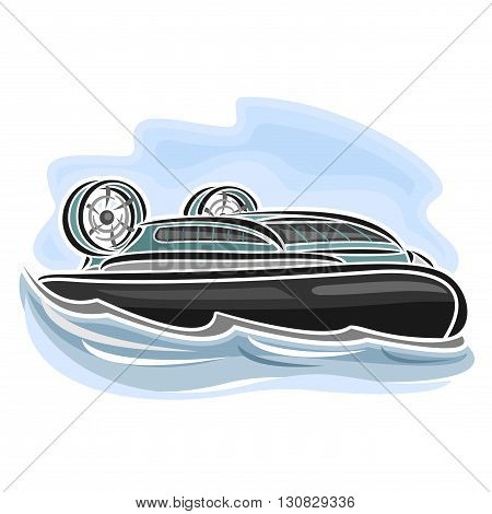 Vector illustration of logo for hovercraft on air-cushion, consisting of speed cartoon hover cushioncraft with propeller, floating on the ocean sea waves close-up on blue background