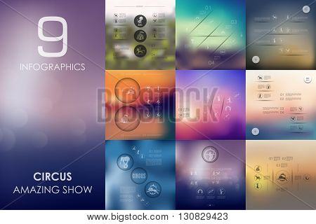 circus vector infographics with unfocused blurred background
