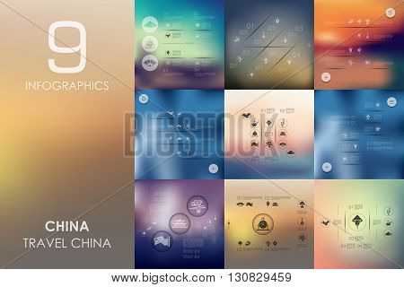 China vector infographics with unfocused blurred background