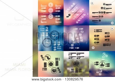 Miami vector infographics with unfocused blurred background
