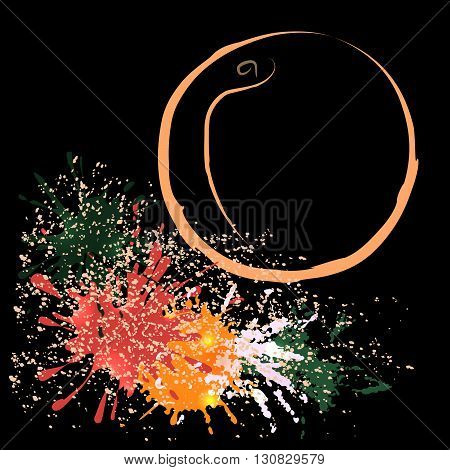 Colored outline of peach with watercolor blots isolated on a black background. Hand-drawn sketch. Art vector illustration for your design. EPS10