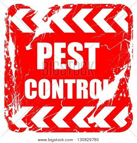 Pest control background, red rubber stamp with grunge edges