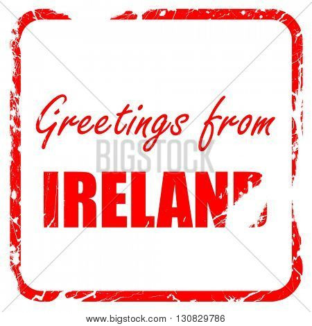 Greetings from ireland, red rubber stamp with grunge edges
