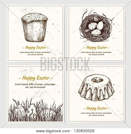 Hand drawn vector illustration - set of Happy Easter! Greeting cards with hand sketched pictures. Eggs on grass Easter cake nest with Easter eggs