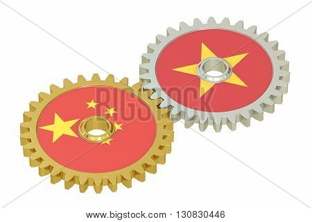 Chinese and Vietnamese flags on a gears 3D rendering isolated on white background