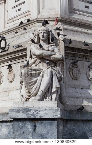 Statue of Dom Pedro IV at Rossio Square Lisbon Portugal