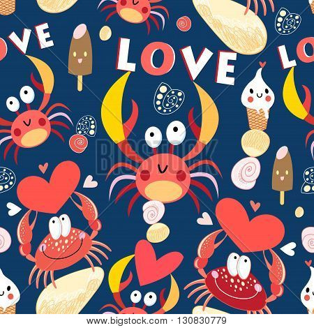 Seamless jolly pattern with crabs in love on a dark background