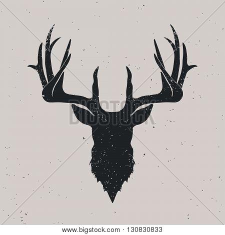 Deer head silhouette hand drawn vintage illustration