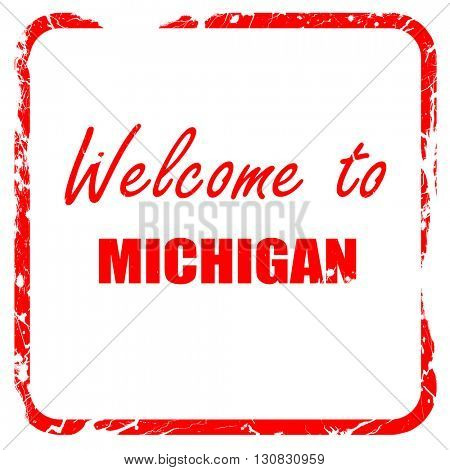Welcome to michigan, red rubber stamp with grunge edges