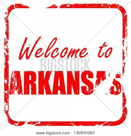 Welcome to arkansas, red rubber stamp with grunge edges