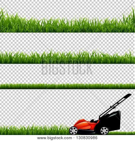 Lawnmower With Green Grass, Isolated on Transparent Background
