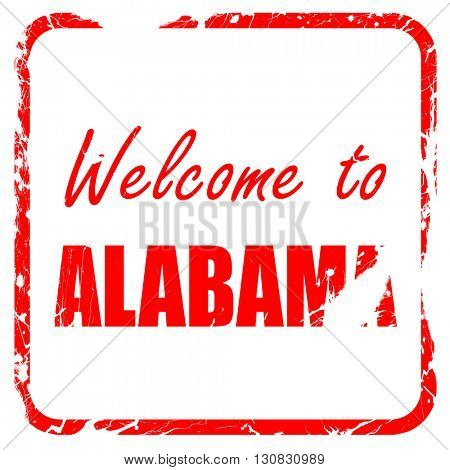 Welcome to alabama, red rubber stamp with grunge edges