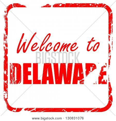 Welcome to delaware, red rubber stamp with grunge edges