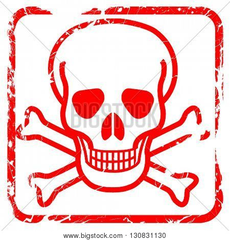 Poison sign background, red rubber stamp with grunge edges