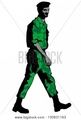 Soldier in milirary uniform on white background