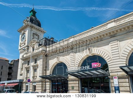 Bayonne France - May 21 2016: Principal facade of Bayonne train station (Gare de Bayonne). Aquitaine. France.
