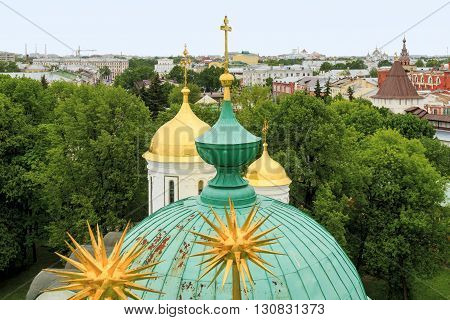 Yaroslavl, Russia - May 23: This is aerial view of Yaroslavl and its churchs May 23, 2013 in Yaroslavl, Russia.
