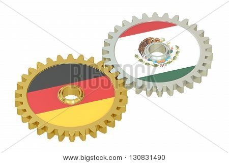 Germany and Mexico flags on a gears 3D rendering isolated on white background