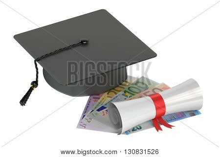 Graduation hat money and scroll 3D rendering isolated on white background