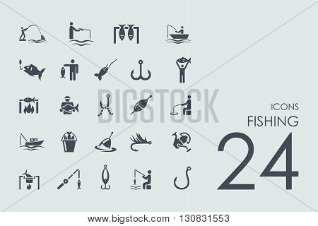 fishing vector set of modern simple icons
