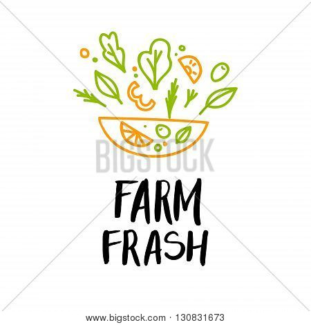 Hand drawn vector illustration - Farm fresh. Logo. Organic and vegan food. Perfect for cards quotes stickers blogs posters and more.