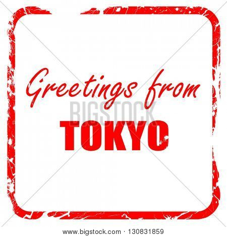Greetings from tokyo, red rubber stamp with grunge edges