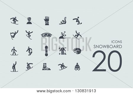 snowboard vector set of modern simple icons