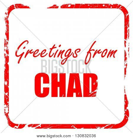 Greetings from chad, red rubber stamp with grunge edges