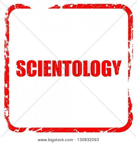 scientology, red rubber stamp with grunge edges