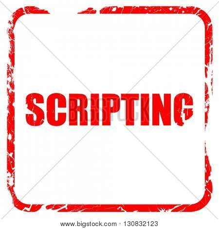 scripting, red rubber stamp with grunge edges